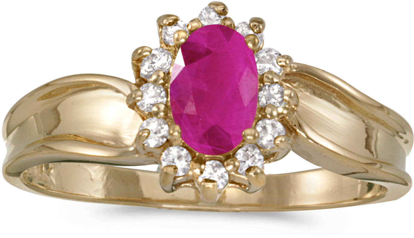10k Yellow Gold Oval Ruby And Diamond Ring (CM-RM804-07)