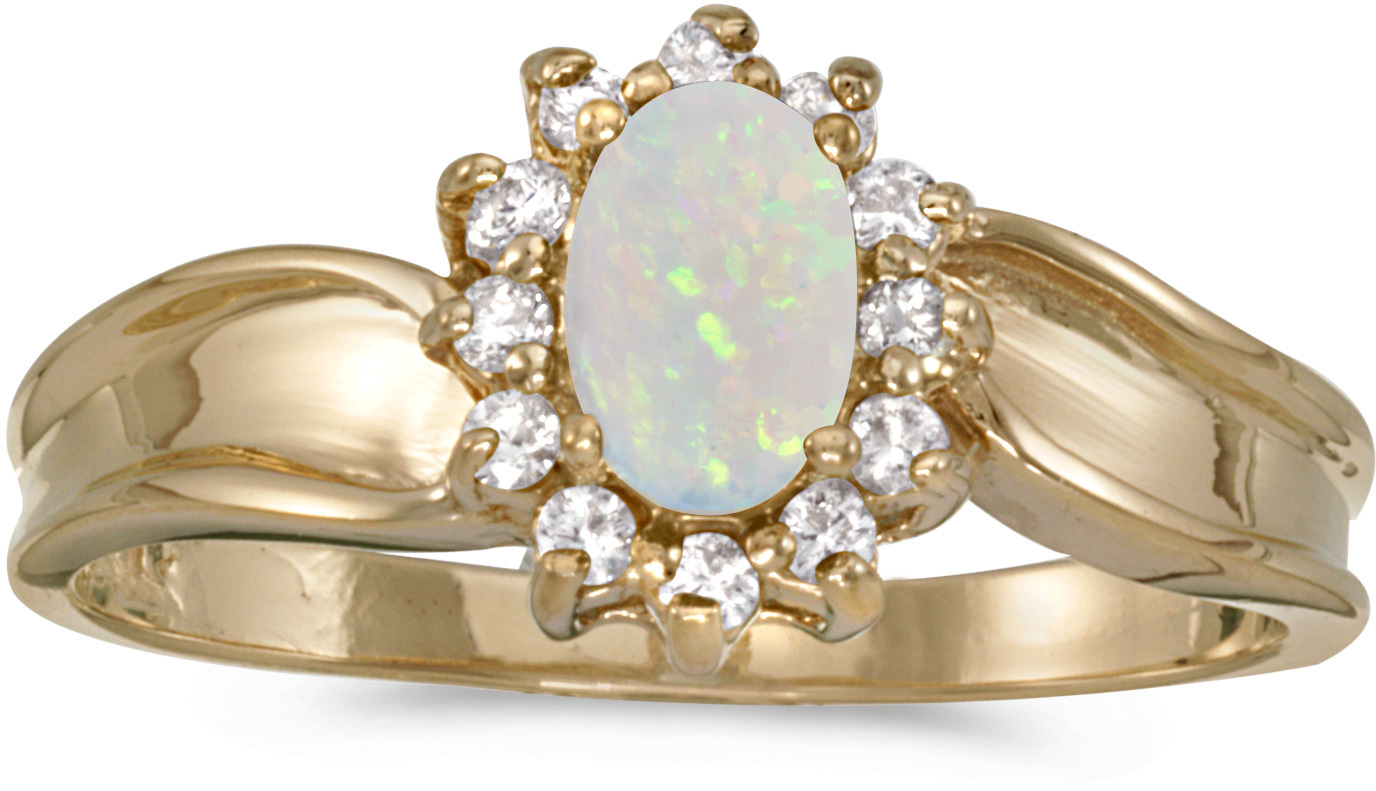 10k Yellow Gold Oval Opal And Diamond Ring (CM-RM804-10)