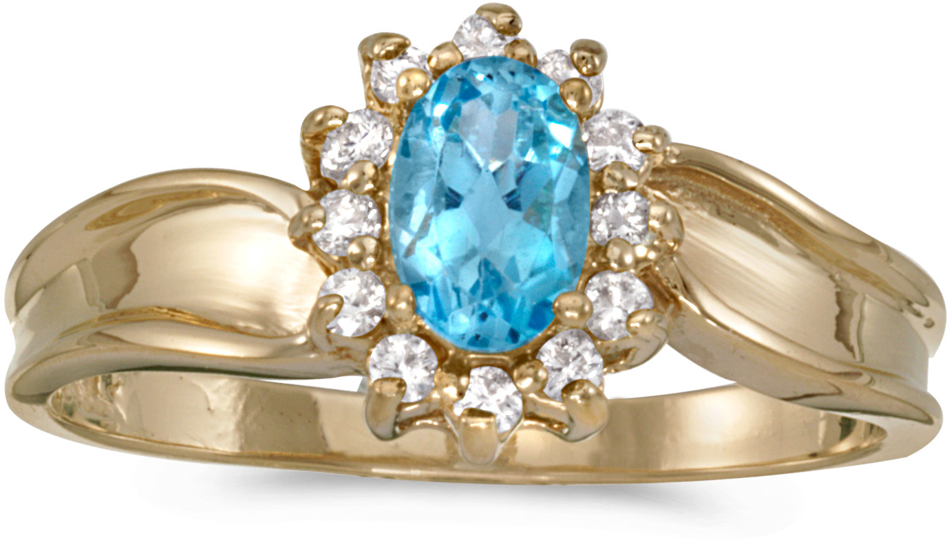 10k Yellow Gold Oval Blue Topaz And Diamond Ring (CM-RM804-12)