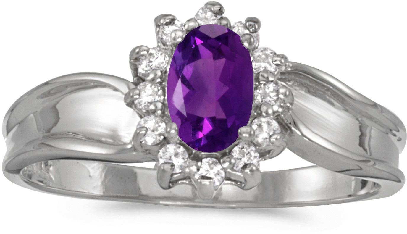 10k White Gold Oval Amethyst And Diamond Ring (CM-RM804W-02)