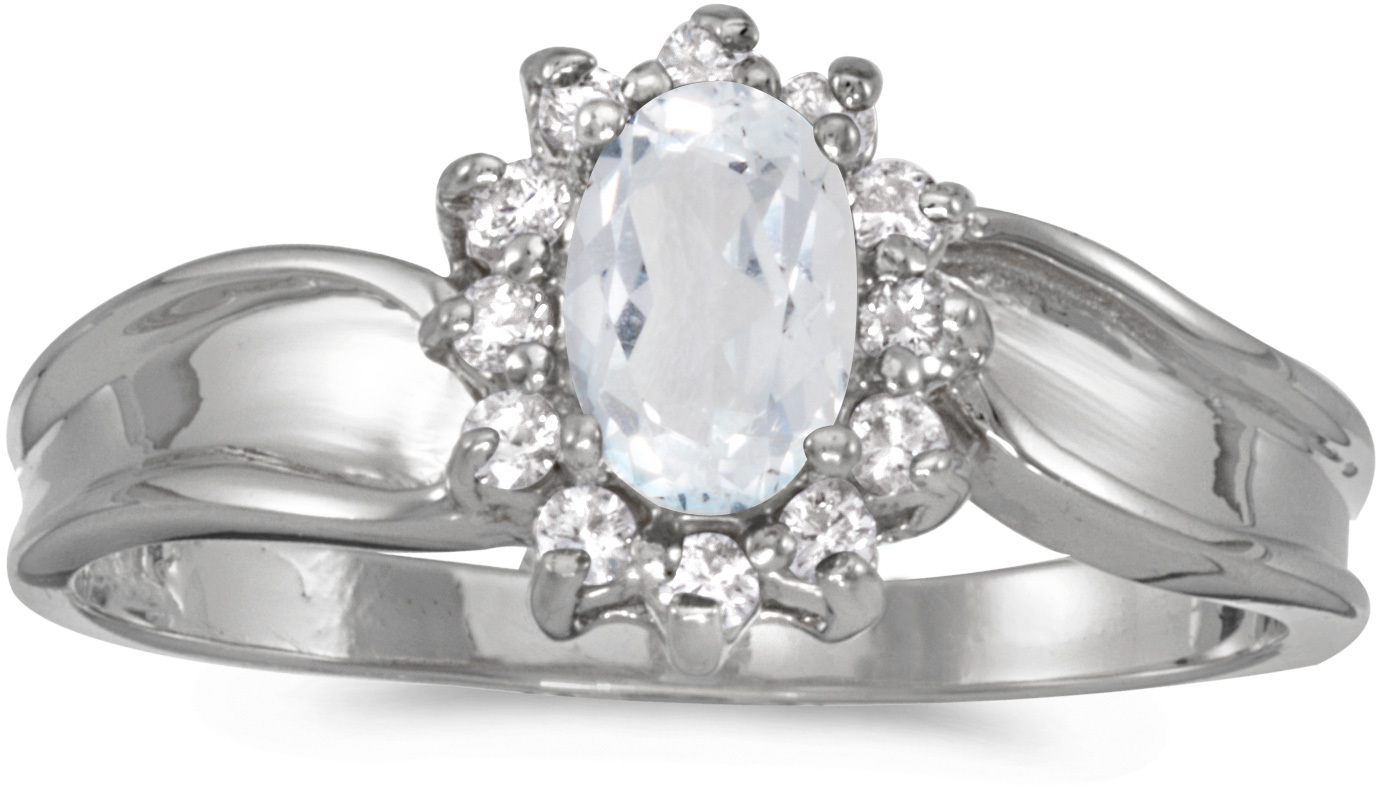 10k White Gold Oval White Topaz And Diamond Ring (CM-RM804W-04)