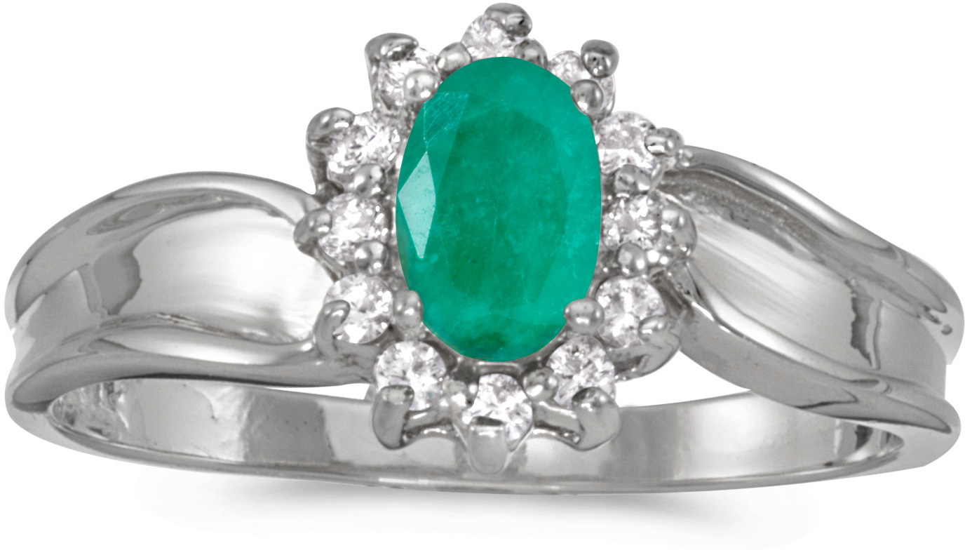 10k White Gold Oval Emerald And Diamond Ring (CM-RM804W-05)
