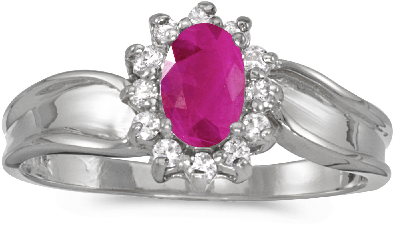 10k White Gold Oval Ruby And Diamond Ring (CM-RM804W-07)