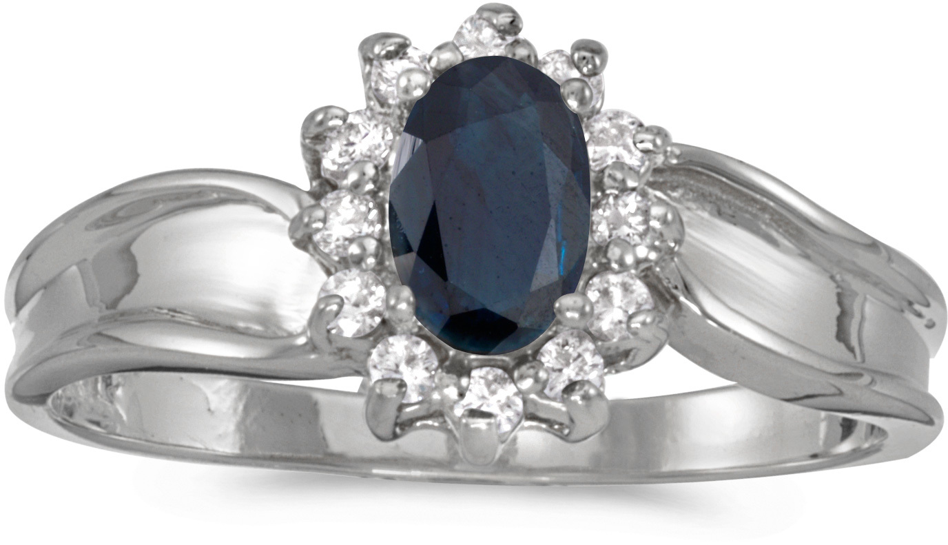 10k White Gold Oval Sapphire And Diamond Ring (CM-RM804W-09)
