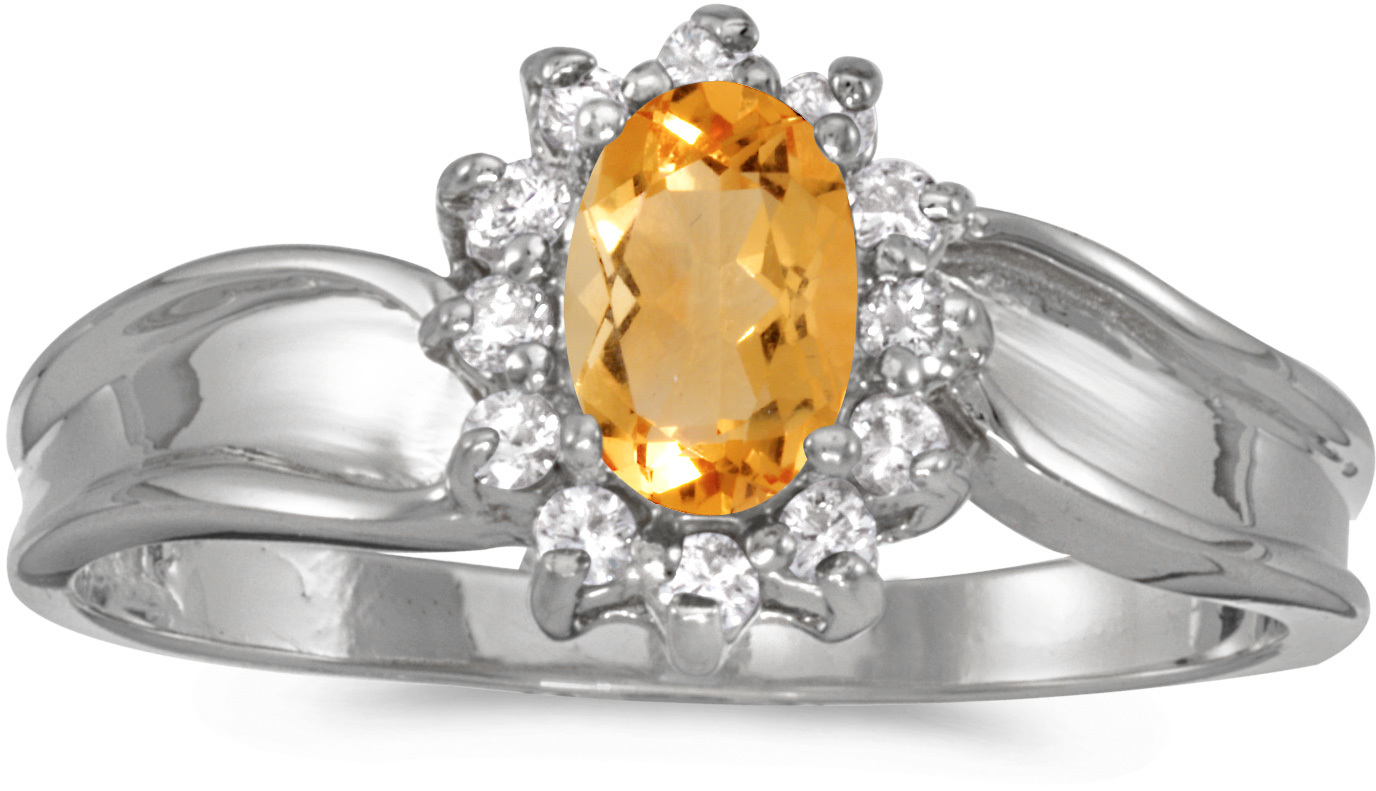 10k White Gold Oval Citrine And Diamond Ring (CM-RM804W-11)