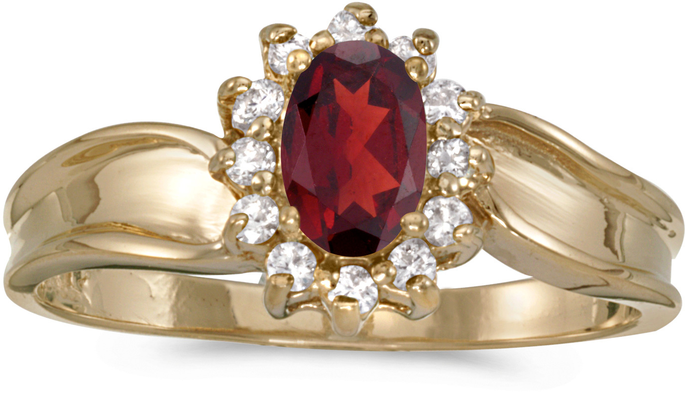 14k Yellow Gold Oval Garnet And Diamond Ring (CM-RM804X-01)