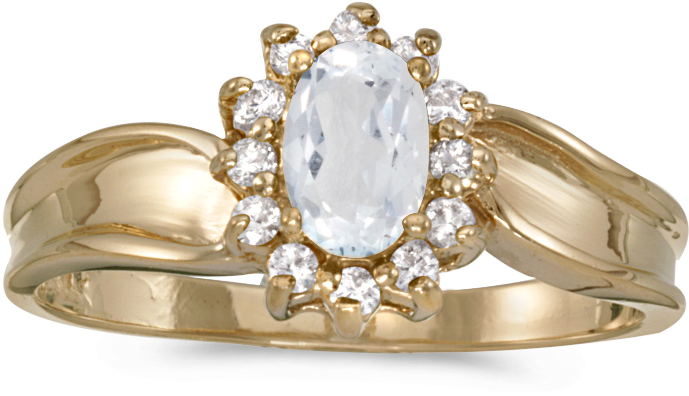 14k Yellow Gold Oval White Topaz And Diamond Ring (CM-RM804X-04)