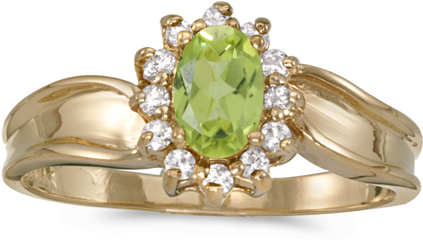 14k Yellow Gold Oval Peridot And Diamond Ring (CM-RM804X-08)