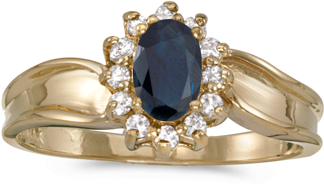 14k Yellow Gold Oval Sapphire And Diamond Ring (CM-RM804X-09)
