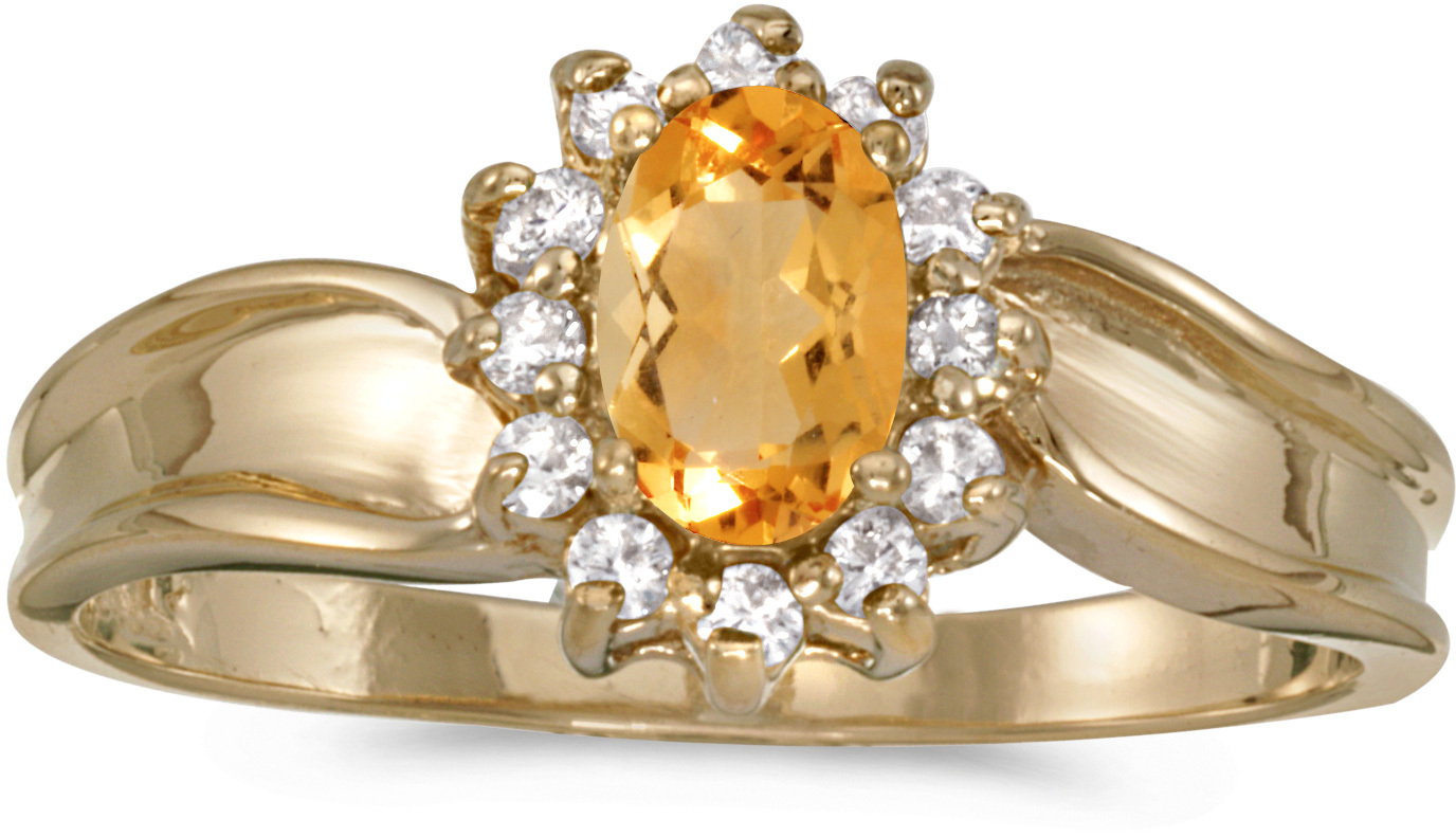 14k Yellow Gold Oval Citrine And Diamond Ring (CM-RM804X-11)