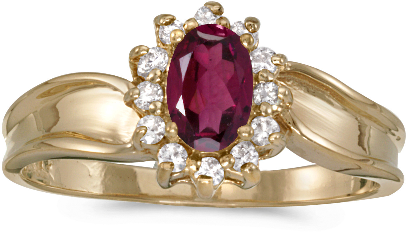 14k Yellow Gold Oval Rhodolite Garnet And Diamond Ring (CM-RM804X-RG)