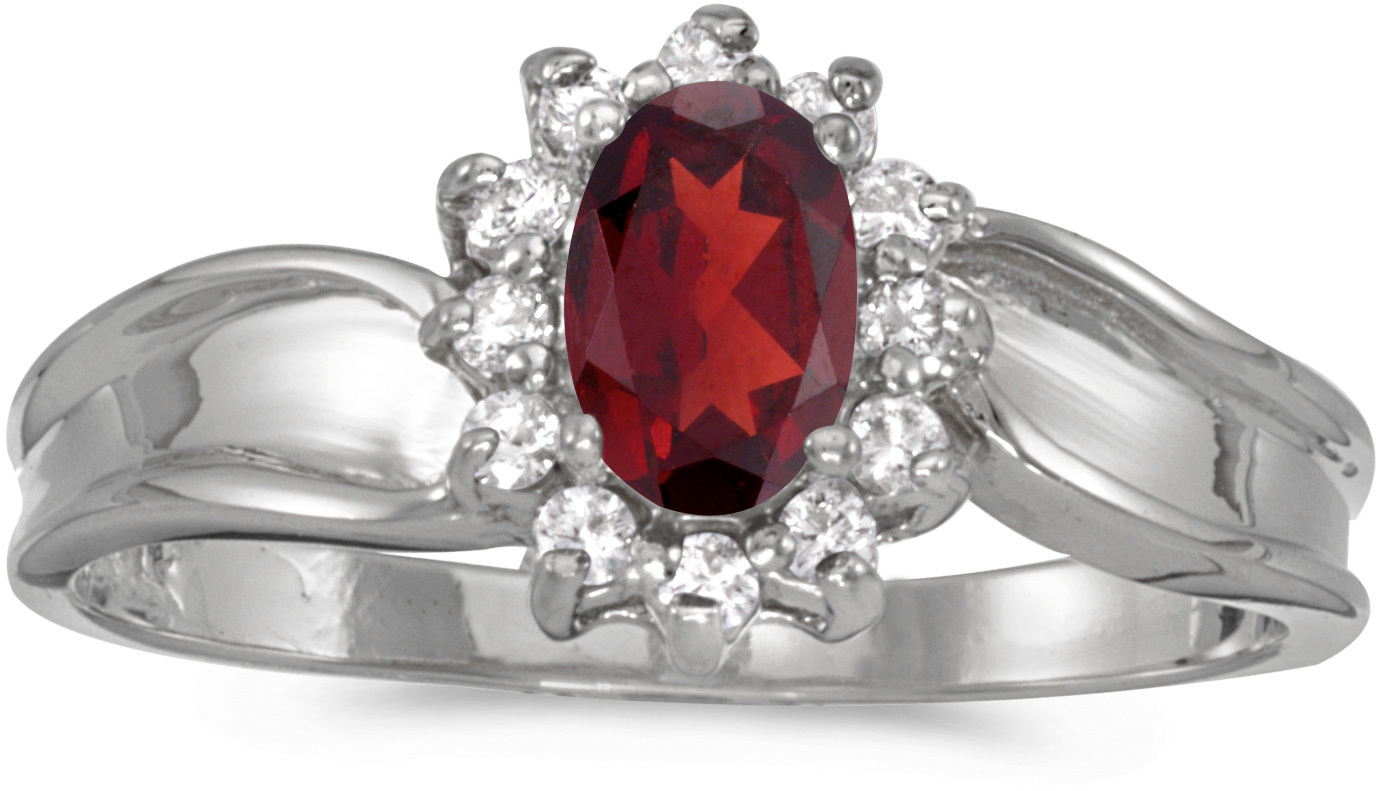 14k White Gold Oval Garnet And Diamond Ring (CM-RM804XW-01)