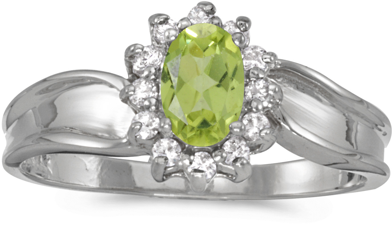 14k White Gold Oval Peridot And Diamond Ring (CM-RM804XW-08)
