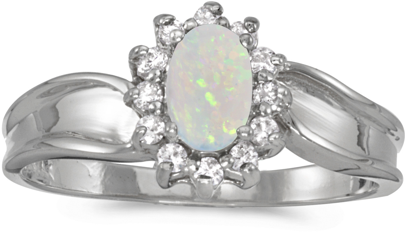 14k White Gold Oval Opal And Diamond Ring (CM-RM804XW-10)