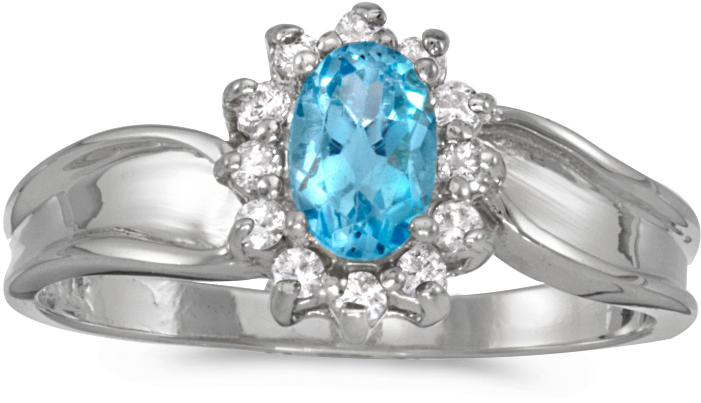 14k White Gold Oval Blue Topaz And Diamond Ring (CM-RM804XW-12)