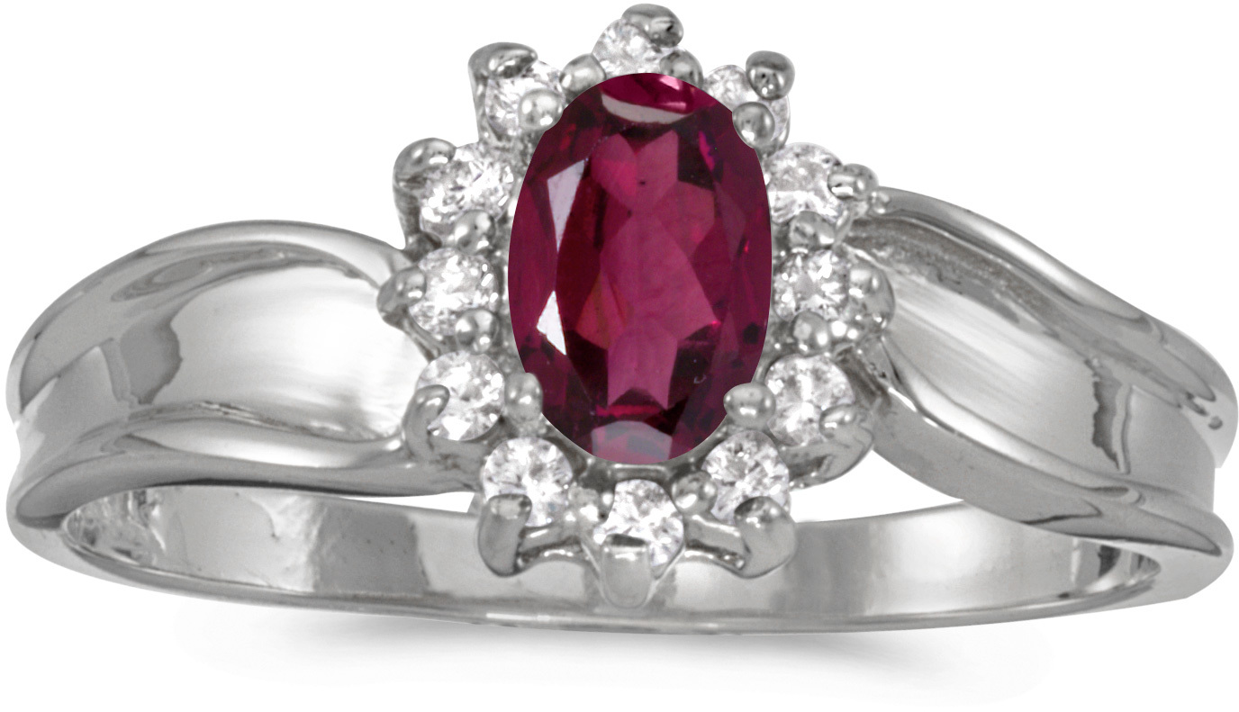 14k White Gold Oval Rhodolite Garnet And Diamond Ring (CM-RM804XW-RG)