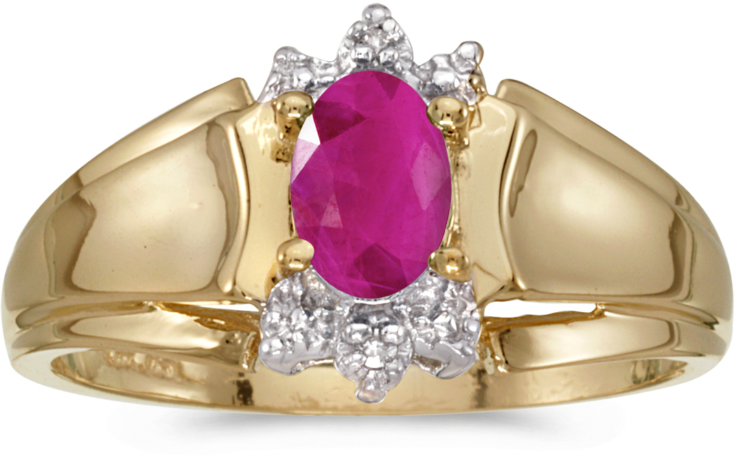 10k Yellow Gold Oval Ruby And Diamond Ring (CM-RM869-07)