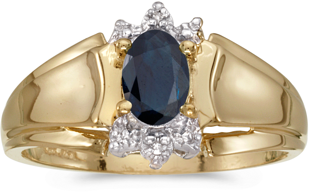 10k Yellow Gold Oval Sapphire And Diamond Ring (CM-RM869-09)