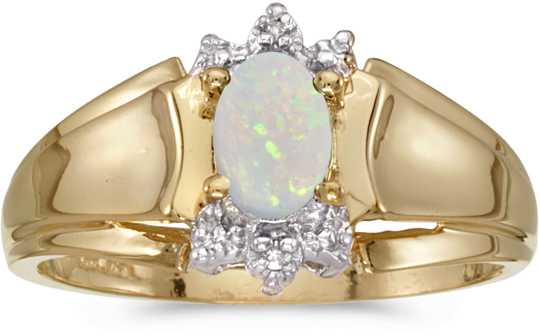 10k Yellow Gold Oval Opal And Diamond Ring (CM-RM869-10)