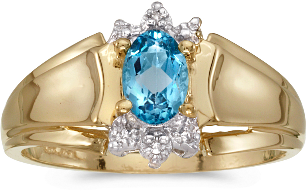 10k Yellow Gold Oval Blue Topaz And Diamond Ring (CM-RM869-12)