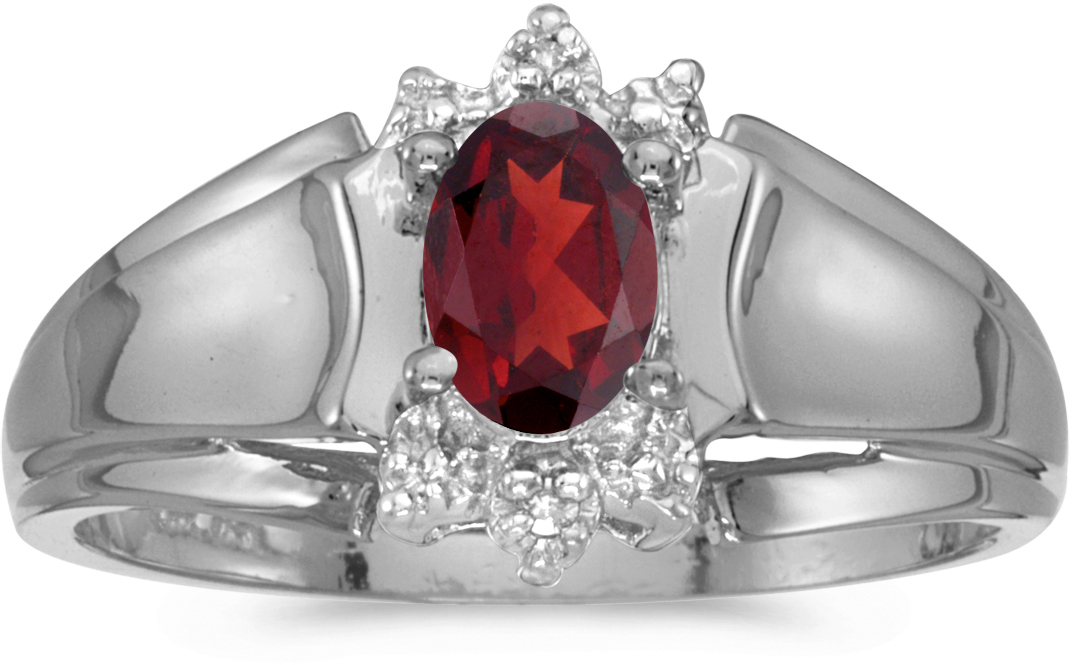 10k White Gold Oval Garnet And Diamond Ring (CM-RM869W-01)