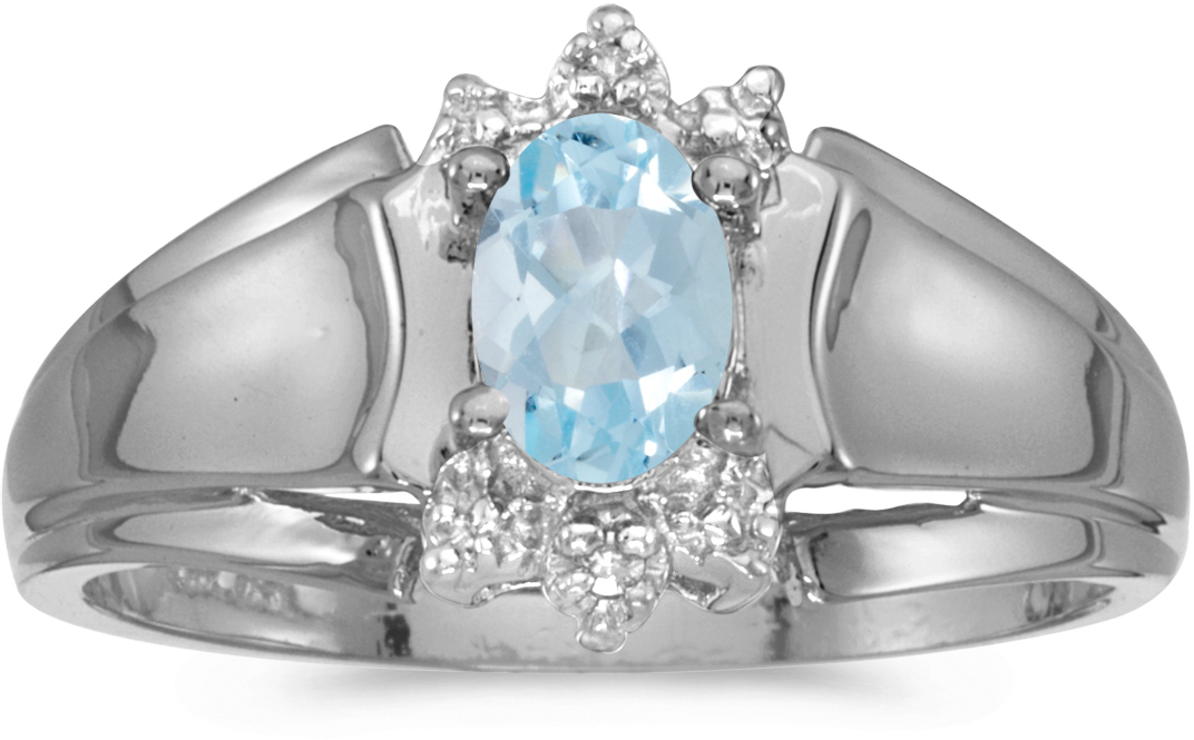 10k White Gold Oval Aquamarine And Diamond Ring (CM-RM869W-03)