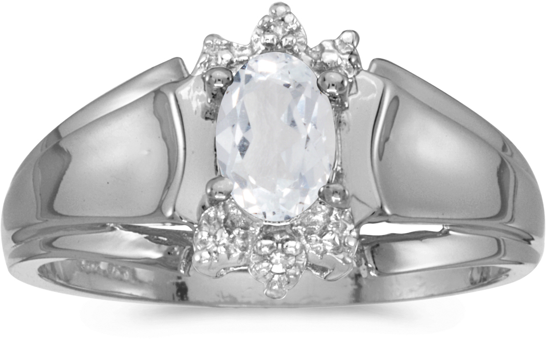 10k White Gold Oval White Topaz And Diamond Ring (CM-RM869W-04)