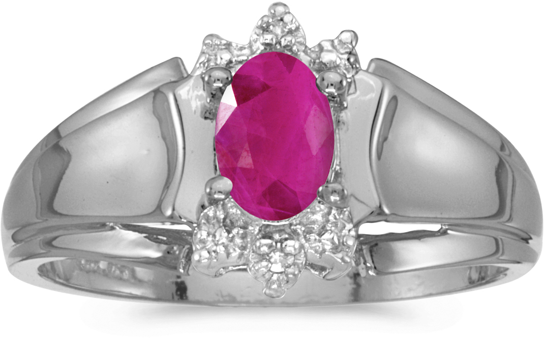 10k White Gold Oval Ruby And Diamond Ring (CM-RM869W-07)