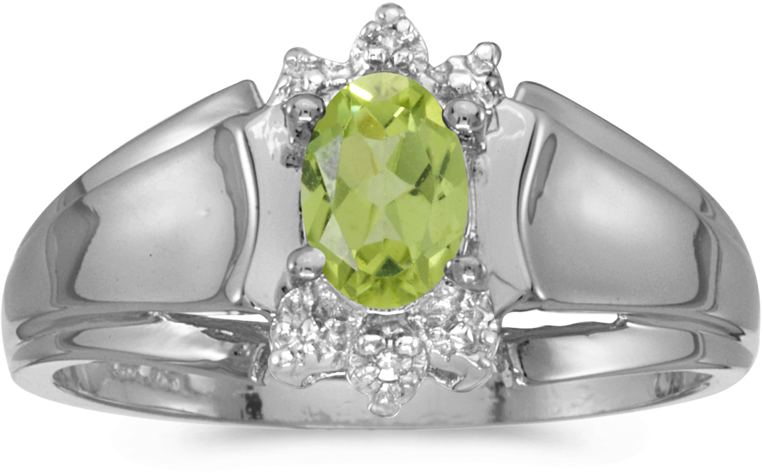 10k White Gold Oval Peridot And Diamond Ring (CM-RM869W-08)