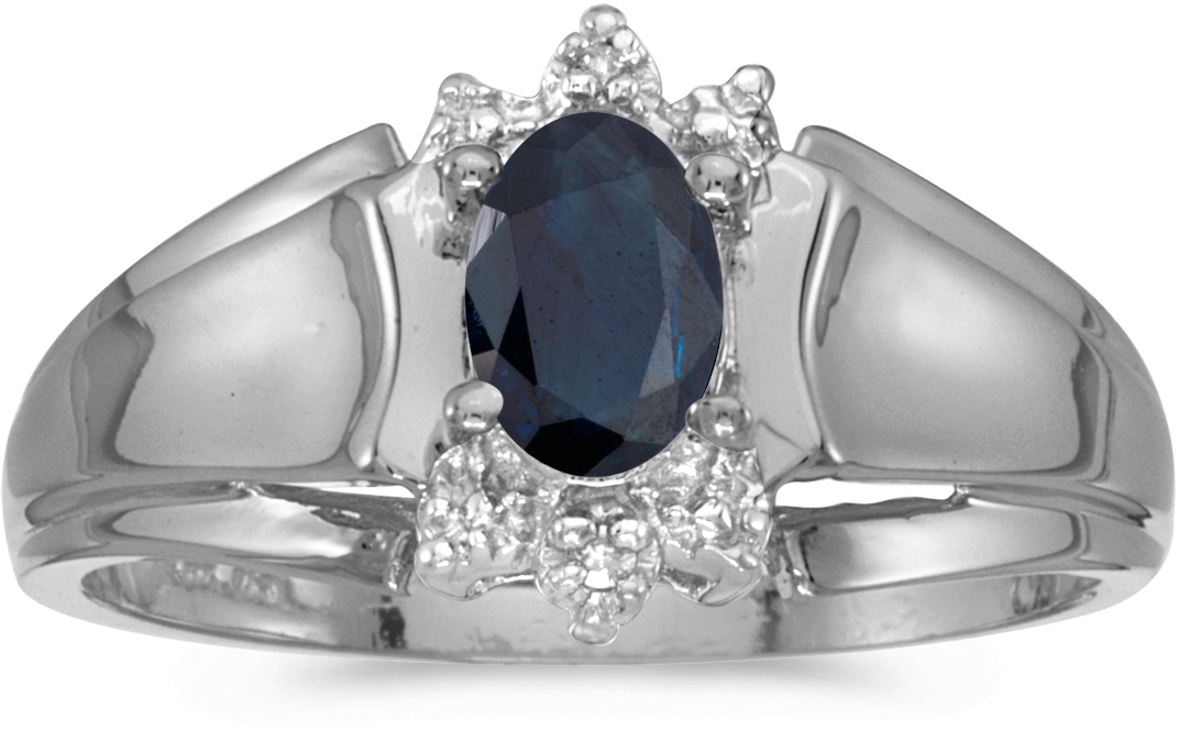 10k White Gold Oval Sapphire And Diamond Ring (CM-RM869W-09)