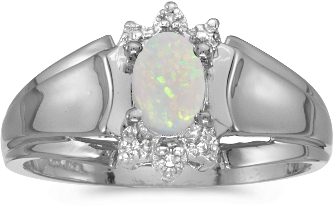10k White Gold Oval Opal And Diamond Ring (CM-RM869W-10)