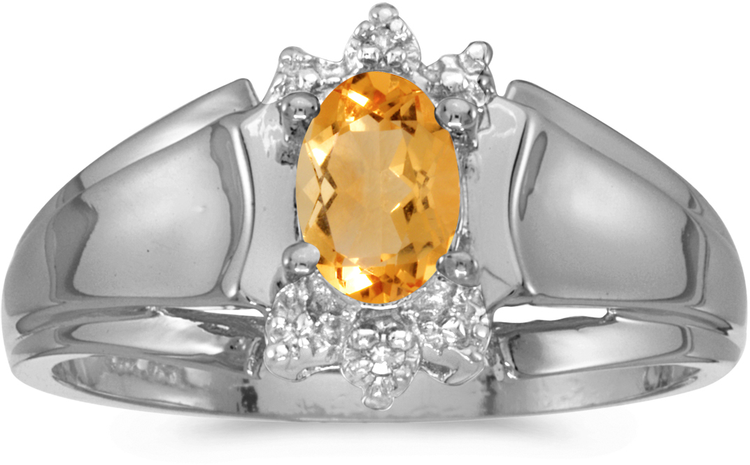 10k White Gold Oval Citrine And Diamond Ring (CM-RM869W-11)