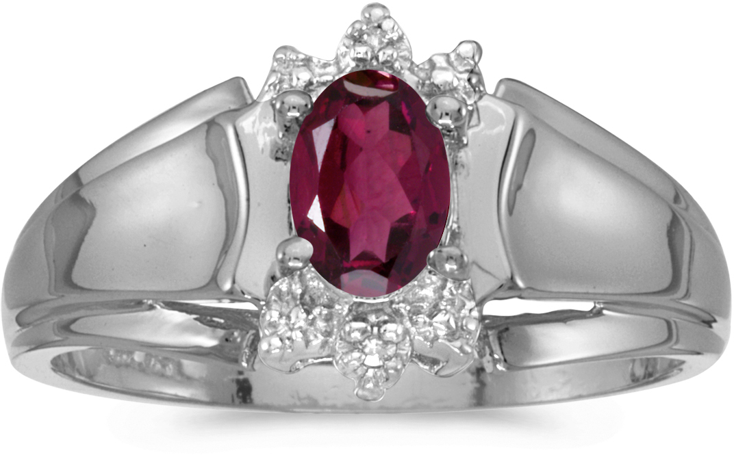 10k White Gold Oval Rhodolite Garnet And Diamond Ring (CM-RM869W-RG)
