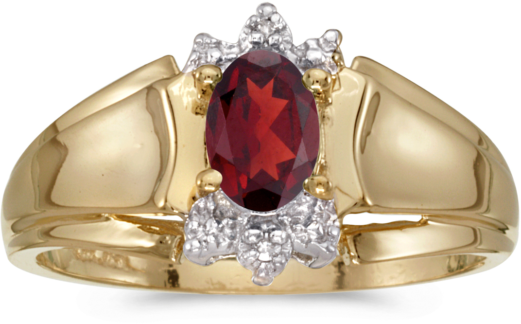 14k Yellow Gold Oval Garnet And Diamond Ring (CM-RM869X-01)