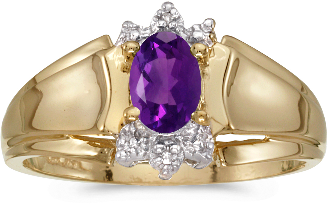 14k Yellow Gold Oval Amethyst And Diamond Ring (CM-RM869X-02)
