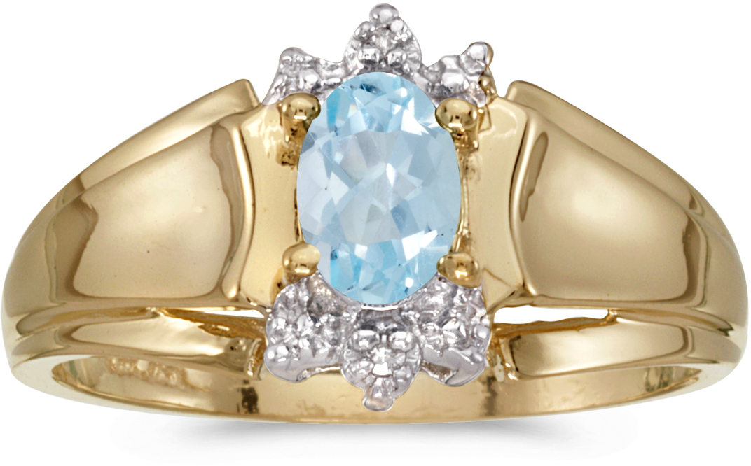 14k Yellow Gold Oval Aquamarine And Diamond Ring (CM-RM869X-03)