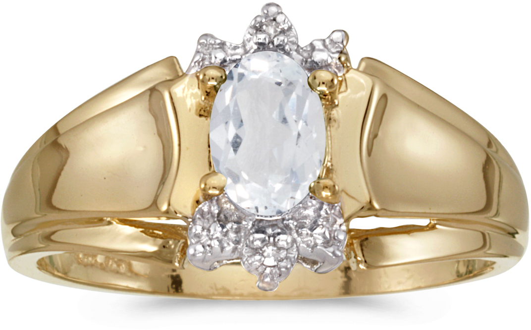 14k Yellow Gold Oval White Topaz And Diamond Ring (CM-RM869X-04)