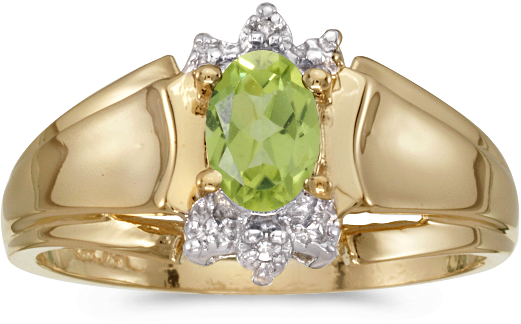 14k Yellow Gold Oval Peridot And Diamond Ring (CM-RM869X-08)