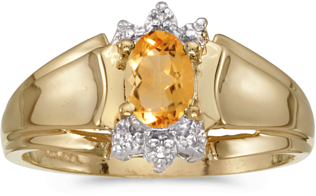14k Yellow Gold Oval Citrine And Diamond Ring (CM-RM869X-11)