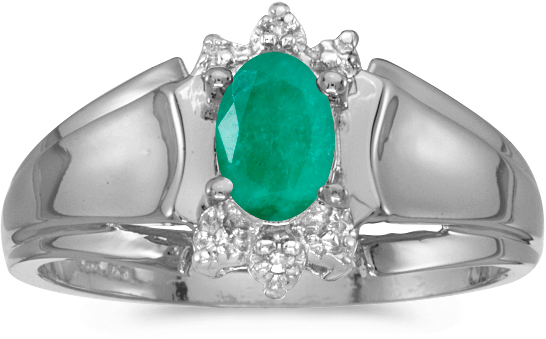 14k White Gold Oval Emerald And Diamond Ring (CM-RM869XW-05)