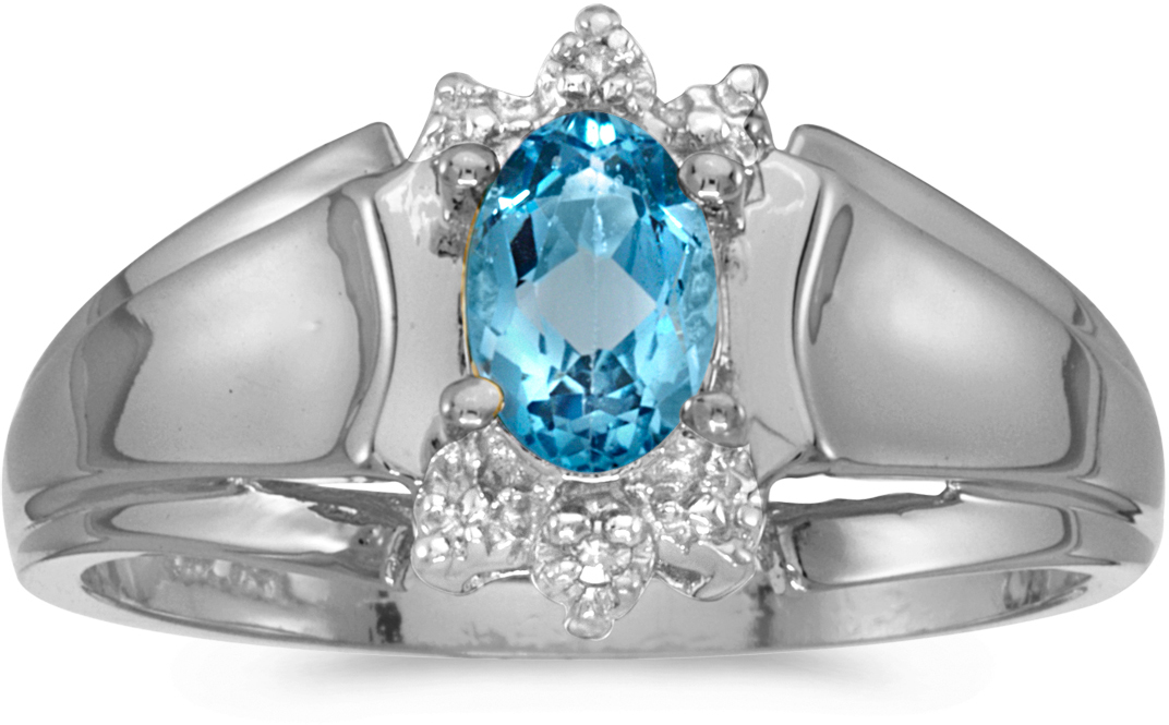14k White Gold Oval Blue Topaz And Diamond Ring (CM-RM869XW-12)