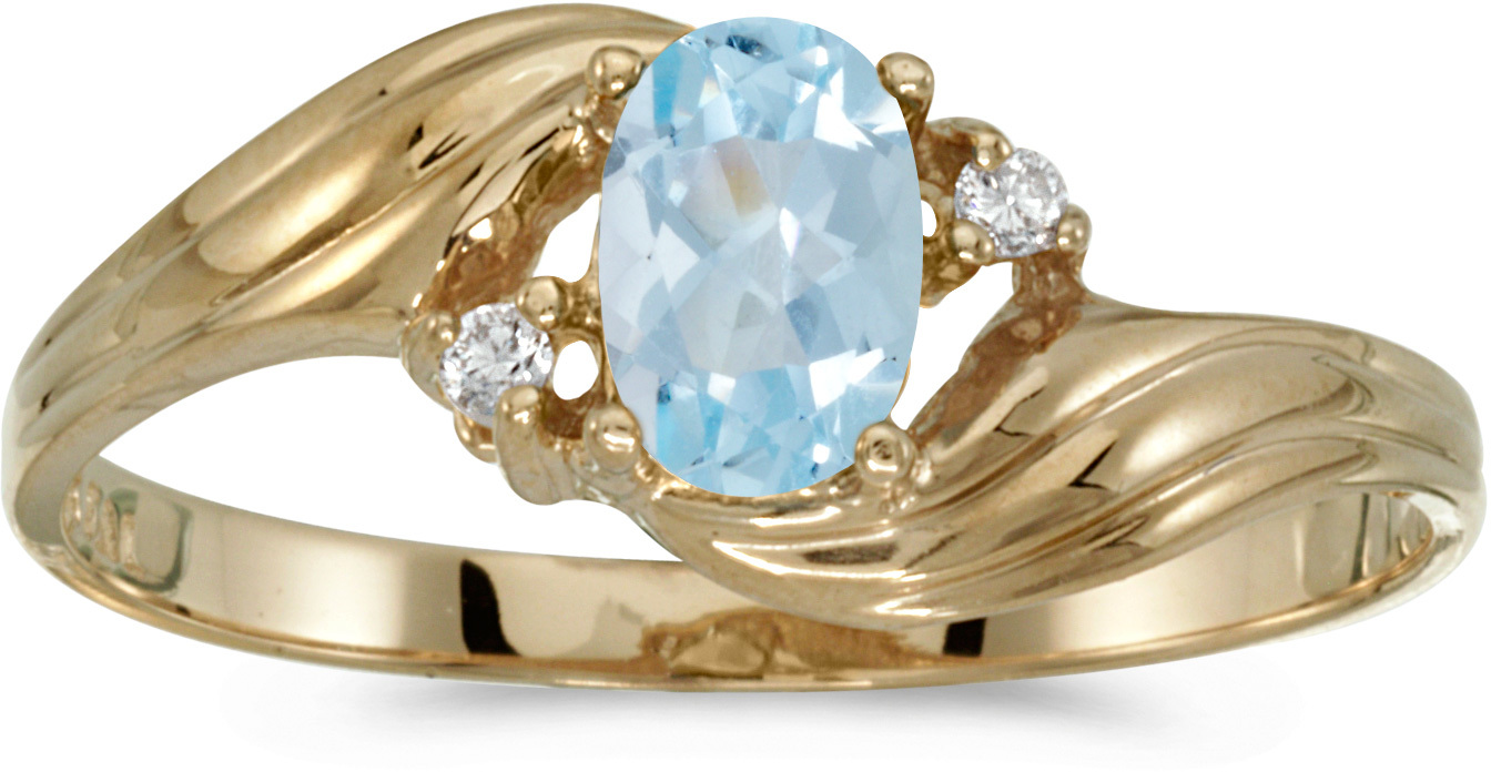 10k Yellow Gold Oval Aquamarine And Diamond Ring (CM-RM885-03)