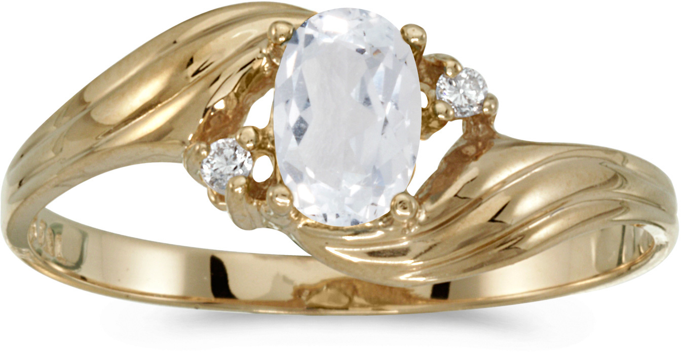 10k Yellow Gold Oval White Topaz And Diamond Ring (CM-RM885-04)