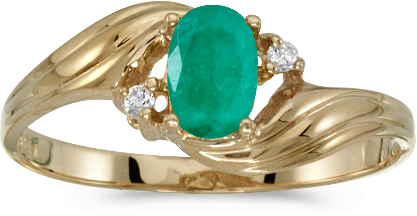 10k Yellow Gold Oval Emerald And Diamond Ring (CM-RM885-05)