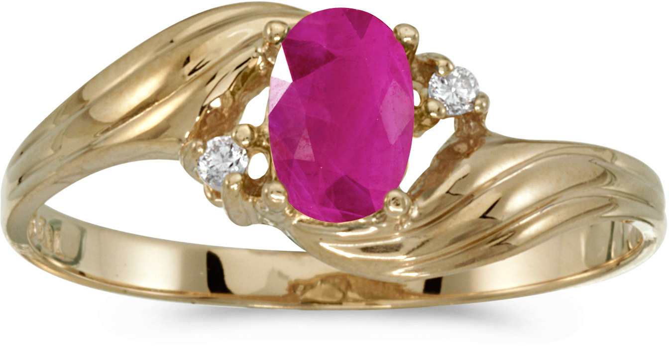 10k Yellow Gold Oval Ruby And Diamond Ring (CM-RM885-07)