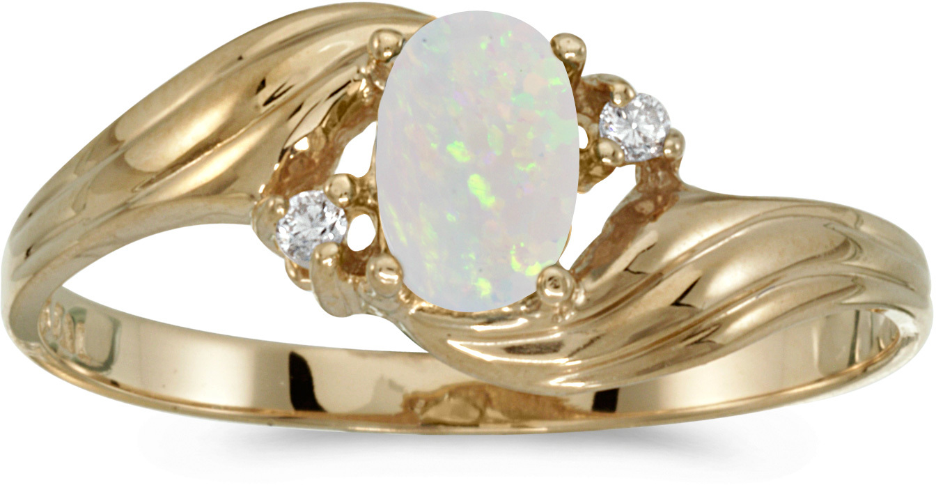 10k Yellow Gold Oval Opal And Diamond Ring (CM-RM885-10)