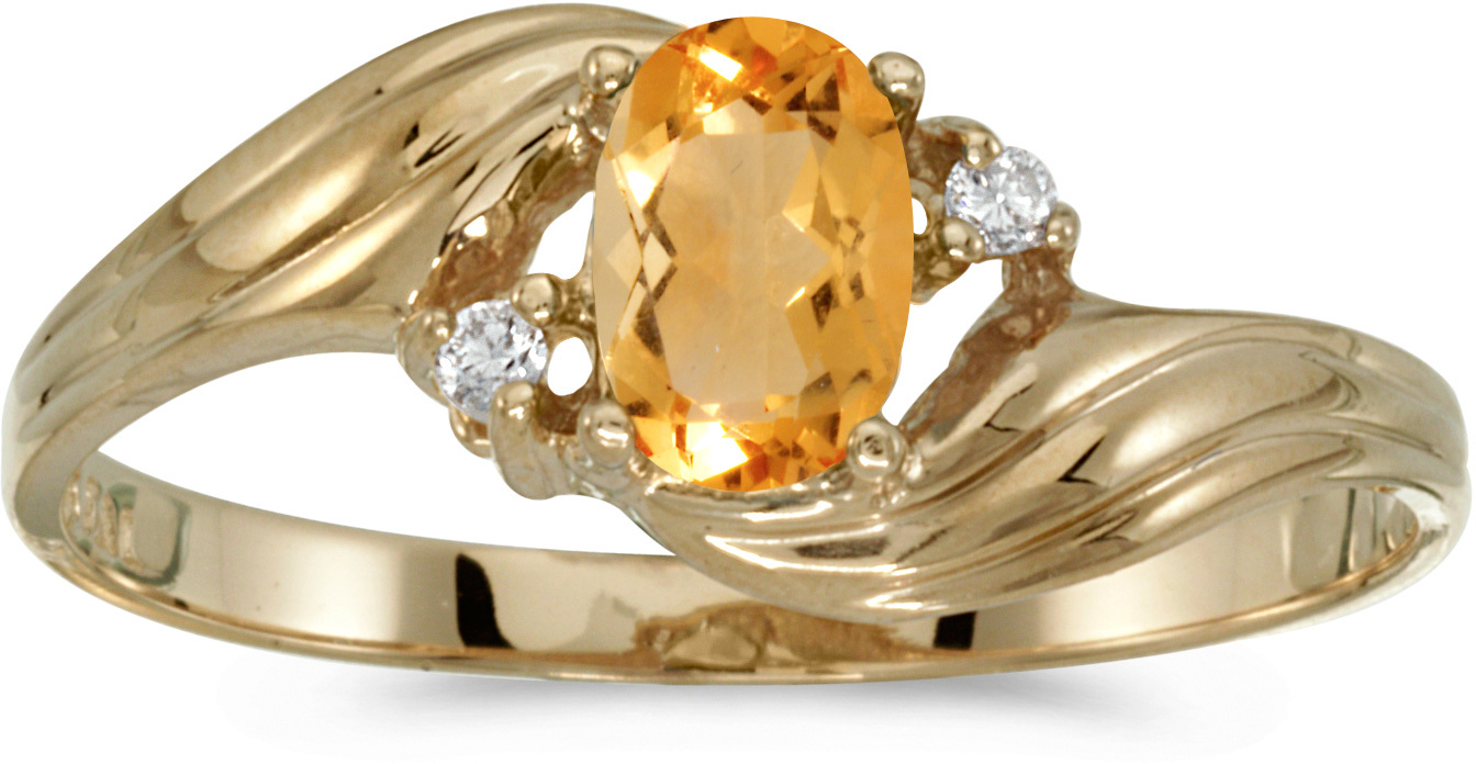 10k Yellow Gold Oval Citrine And Diamond Ring (CM-RM885-11)