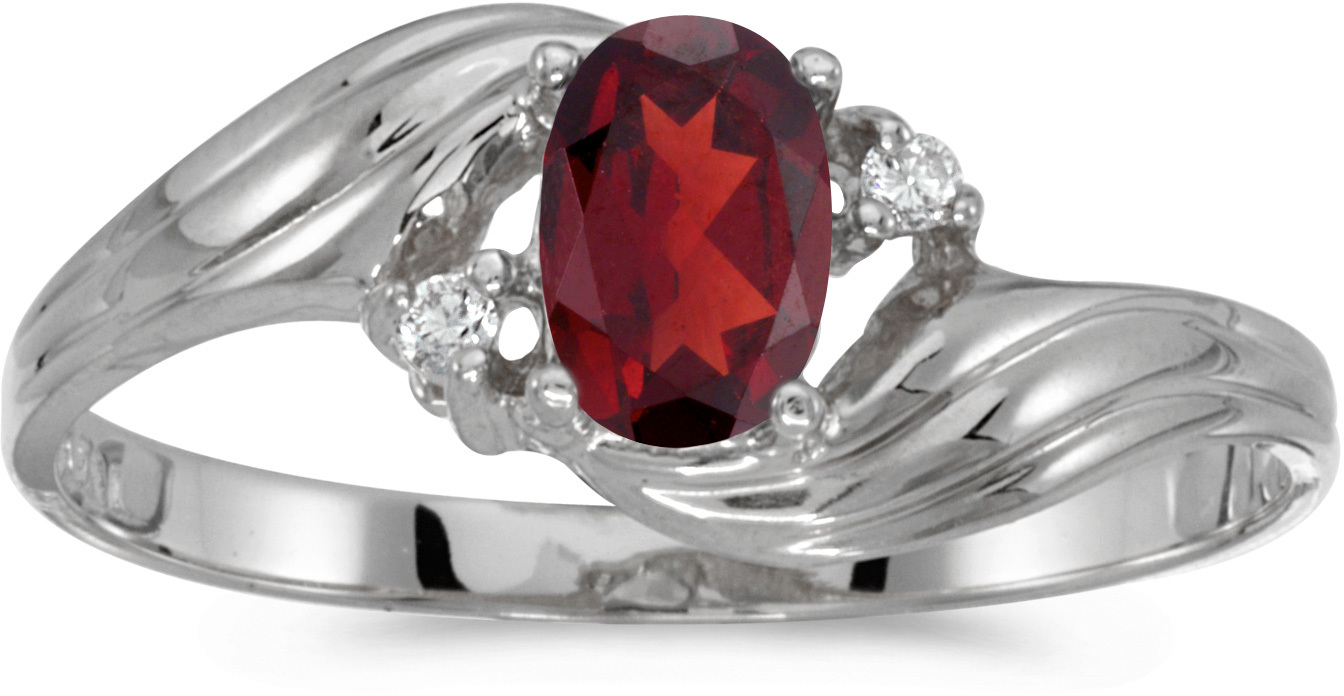 10k White Gold Oval Garnet And Diamond Ring (CM-RM885W-01)