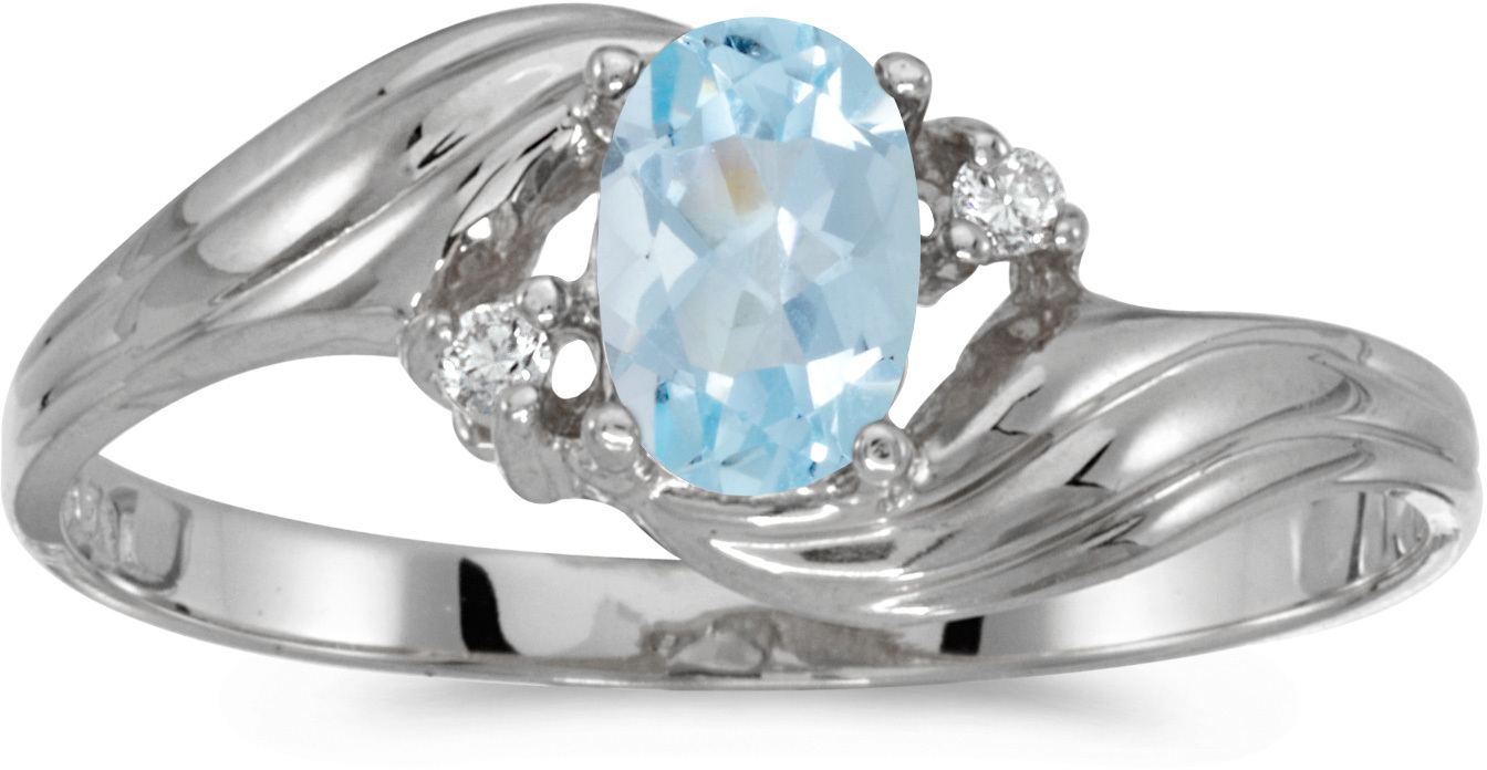 10k White Gold Oval Aquamarine And Diamond Ring (CM-RM885W-03)