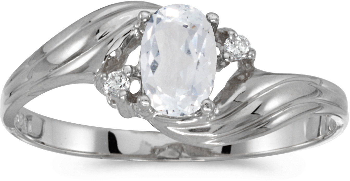 10k White Gold Oval White Topaz And Diamond Ring (CM-RM885W-04)